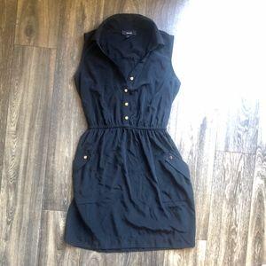 🎃2 FOR 22 - Alfoni Black Sinch Button Down Dress